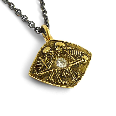 Dulcis Mortem Pendant with 14k and Oxidized Silver