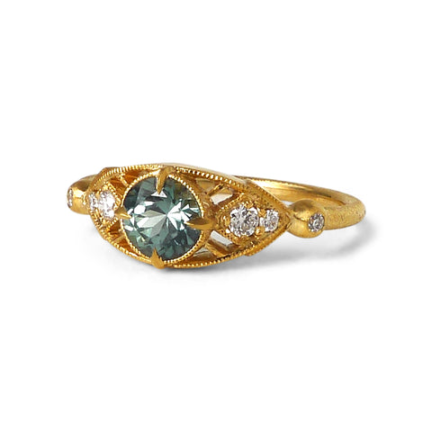 Isadora Ring w/ 5mm Medium Green Sapphire