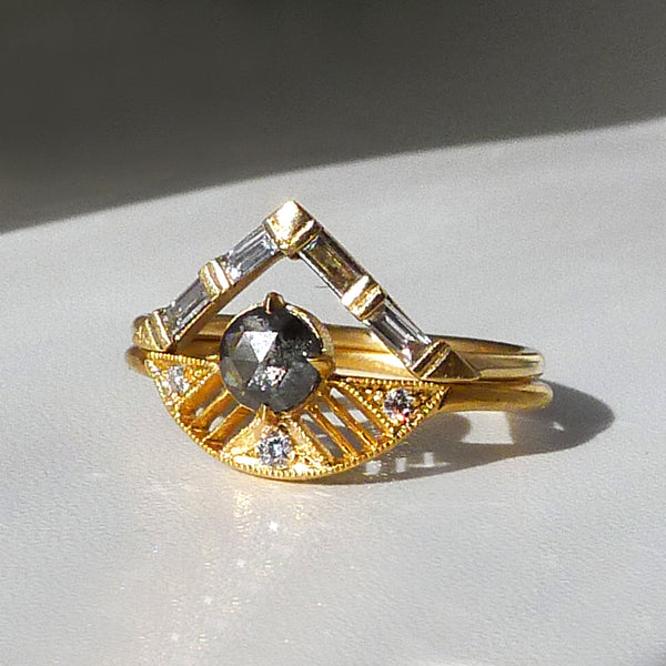 Leanne Ring w/ Salt and Pepper Rose Cut Diamond