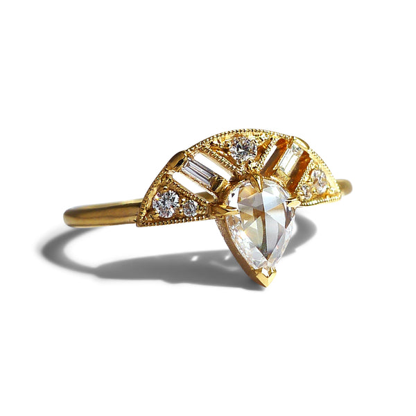 Leanne Ring w/ Pear Diamond Rose Cut (8 stone)