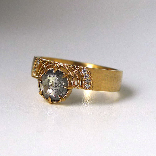 Paloma Ring w/ Salt and Pepper Rose Cut Diamond