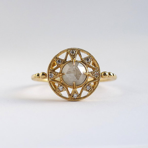 Zenith Ring w/ Icy Gray Rose Cut Diamond
