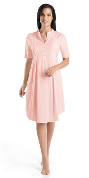 Hanro Cotton Deluxe Short Sleeve Button Front Gown | Crystal Pink