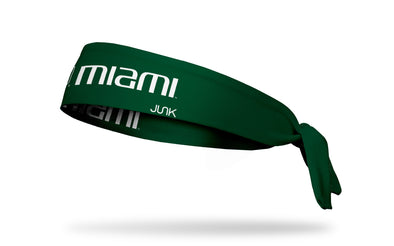 University of Miami: Wordmark Green Tie Headband