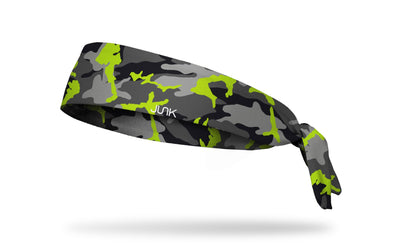 grey black and neon yellow green camo print headband