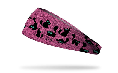 cat themed pink headband with black cats pouncing pattern