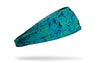 colorful teal and navy paint splattered heaband