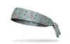 gray headband with brightly colored molecule pattern