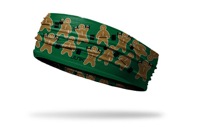 green headband with repeating pattern of gingerbread men working out