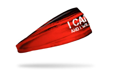 black and red headband with I Can and I Will wordmark in white
