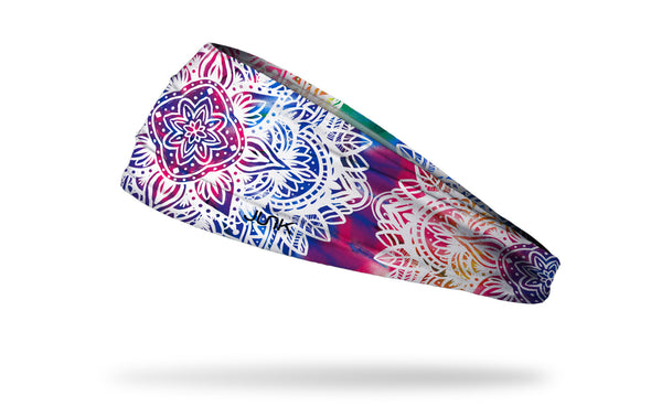 tie-dye rainbow print headband with intricate white mandala