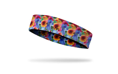 brightly colored headband with repeating pattern of flowers in watercolor