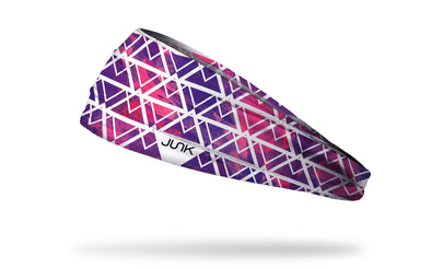 pink to purple gradient headband with white triangle pattern overlay