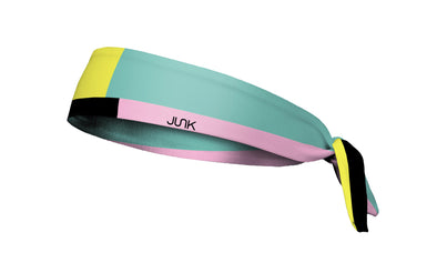 colorful color block headband in light blue light pink and black