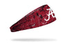 red headband with paint splatters and University of Alabama logo