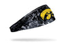 black headband with University of Iowa hawkeye logo in yellow with white grunge overlay