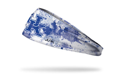white headband with University of Kentucky letter logo in royal blue