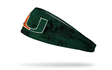 University of Miami green headband with black grunge overlay