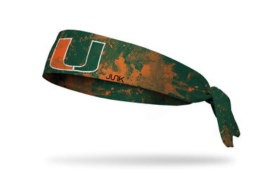 University of Miami green headband with orange grunge overlay