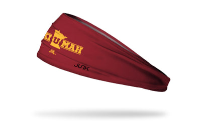 maroon headband with University of Minnesota ski-u-mak wordmark in gold