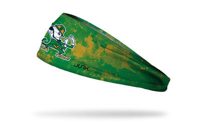 University of Notre Dame green headband with grunge overlay