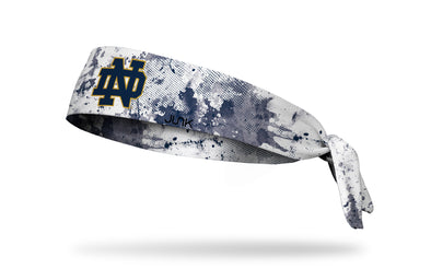 University of Notre Dame white headband with grunge overlay