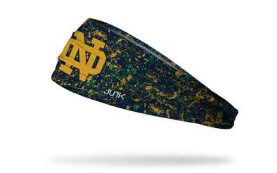 University of Notre Dame navy headband with splatter overlay