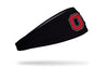 black headband with Ohio State University vintage O logo in scarlet