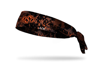 Oklahoma State University black headband with grunge overlay