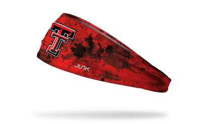 red headband with black grunge overlay and Texas Tech University T T logo in red white and black
