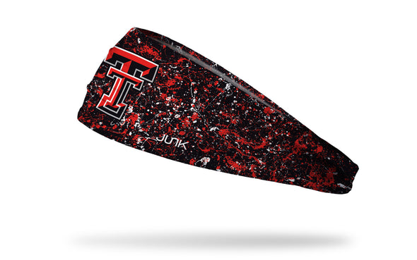 black paint splatter headband with Texas Tech University TT logo  in red