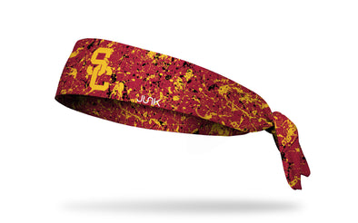 cardinal headband with paint splatter design and University of Southern California logo