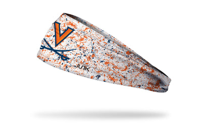 white headband with paint splatter and University of Virginia logo