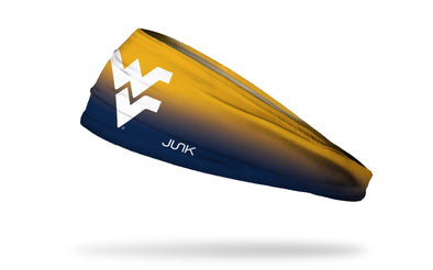 yellow to navy gradient headband with West Virginia University white W V logo in front center