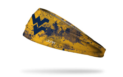 gold headband with West Virginia University WV logo in navy with navy grunge overlay