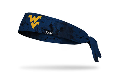navy headband with West Virginia University WV logo in gold with black grunge overlay