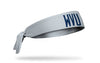 light gray headband with West Virginia University navy W V U logo in front center