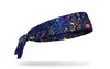 colorful navy and orange paint splattered heaband