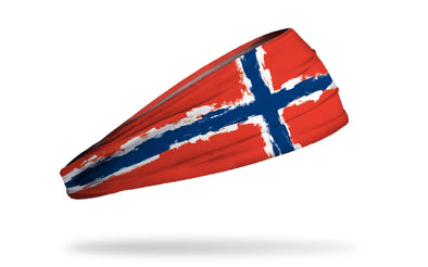 headband with traditional Norway flag design made to look like it has been painted