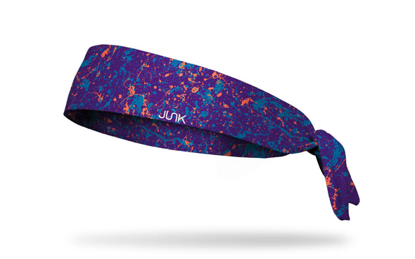 colorful purple and orange paint splattered heaband