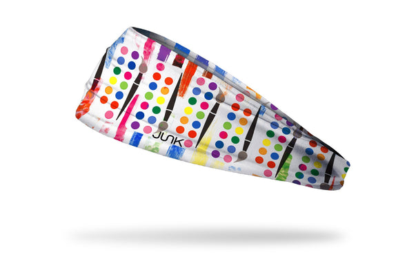 white headband with colorful and bright paint brush and set repeating pattern