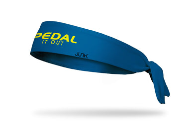 dark blue headband with pedal it out wordmark in neon yellow