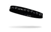 repeating paw print pattern in gray on black thin band headband