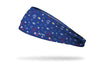 blue headband with images of planets and comets in hand drawn primary color design