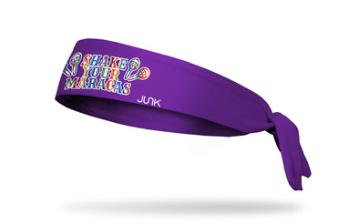 purple headband with rainbow colored Shake Your Maracas wordmark with maracas on right and left
