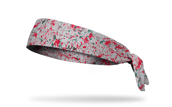 colorful red and gray paint splattered heaband