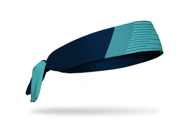 teal blue headband with navy speed print