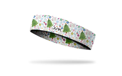 white headband with repeating pattern of trees decorated with colorful ornaments