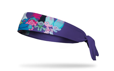 Trolls themed headband with full character lineup in front center