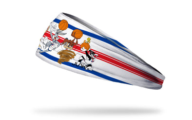 white headband with blue and red varsity stripes and Space Jam Looney Tunes characters in full color